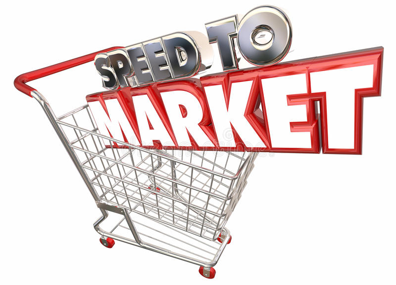 Hastighet som marknadsför produktutveckling för shoppingvagn stock illustrationer