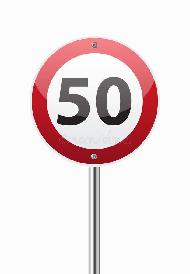 Hastighetsbegränsning femtio för trafiktecken stock illustrationer