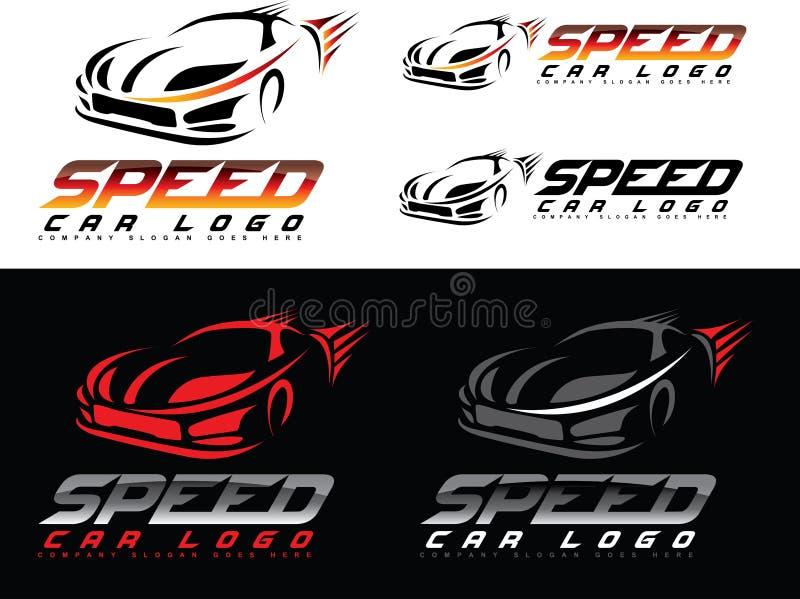 Hastighetsbillogo royaltyfri illustrationer