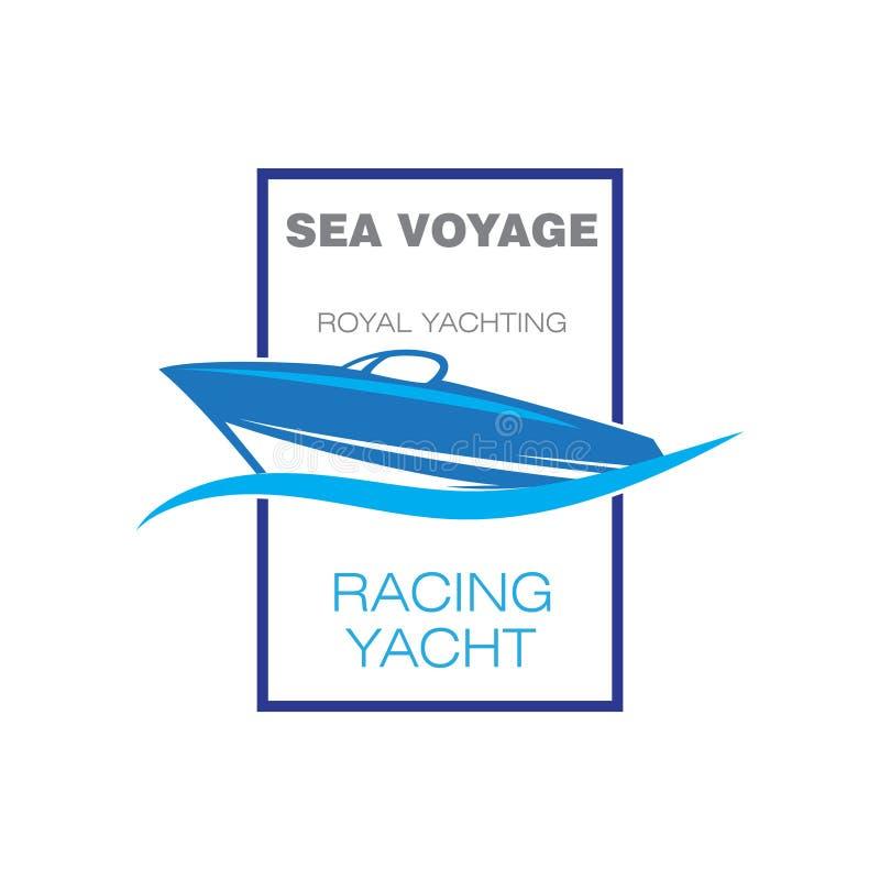 Hastighetsfartyglogo stock illustrationer