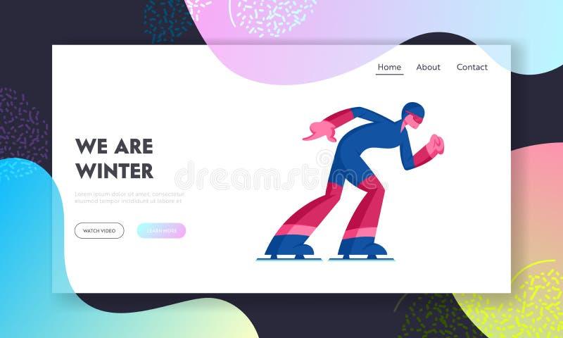 Hastighetskirurgi eller webbsida för kortspårskonkurrens Sportsman Skater Moving Fast by Stadium vintersäsong royaltyfri illustrationer