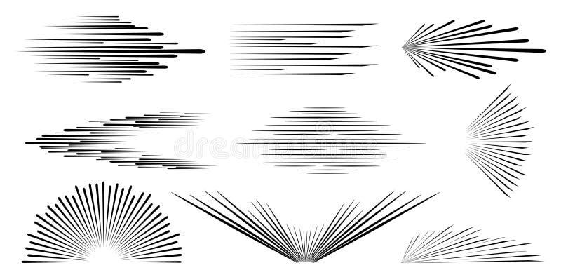 Hastighetslinje Hastighetshumorbok Bakgrund av radiella linjer vektor illustrationer