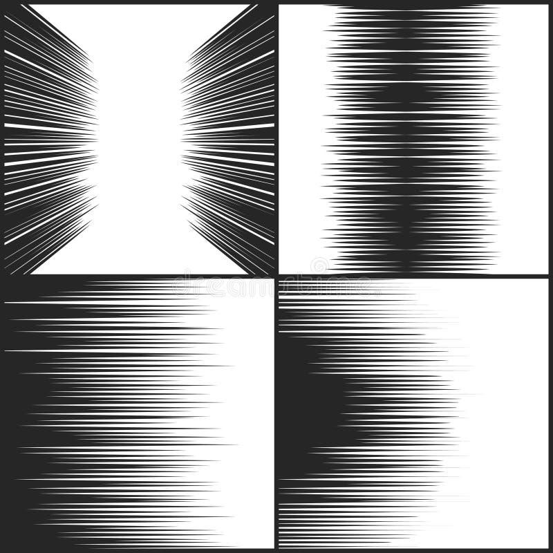 Hastighetslinjen humorboktextur, horisontalrörelse fodrar vektoruppsättningen vektor illustrationer
