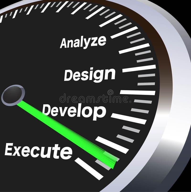 Hastighetsmätare för affärsregler stock illustrationer