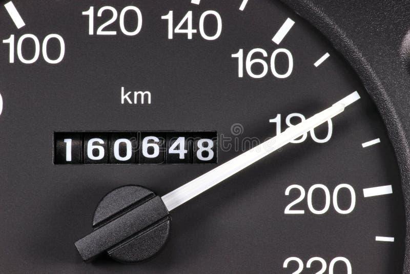 Hastighetsmätare på km/tim 180 royaltyfria bilder
