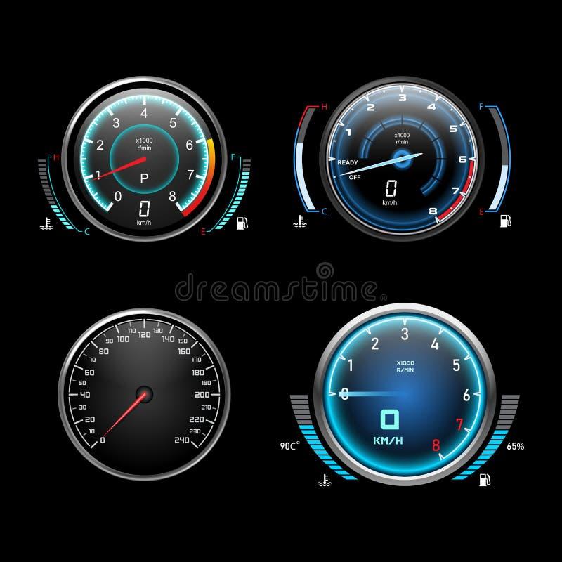 Hastighetsmätare, takometer och bränslemätare för bilar vektor illustrationer