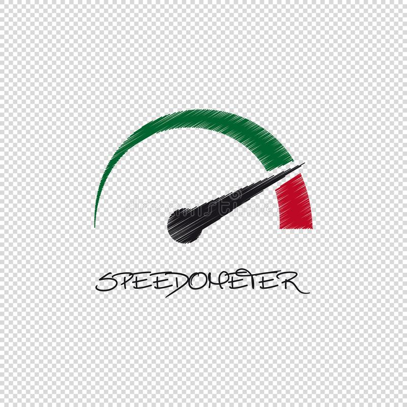 Hastighetsmätare - vektor klottra illustrationen - som isoleras på genomskinlig bakgrund royaltyfri illustrationer