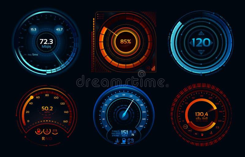 Hastighetsmätareindikatorer Begrepp för meter för makt snabb eller långsam för internetuppkopplinghastighetsmeter för etapper för stock illustrationer