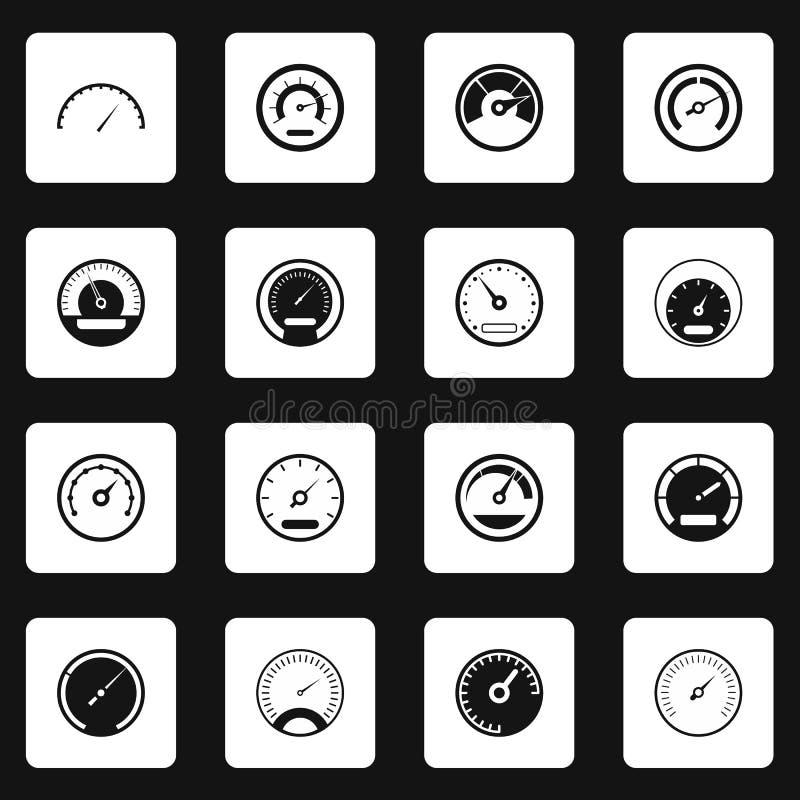 Hastighetsmätaresymbolsuppsättning, enkel stil royaltyfri illustrationer