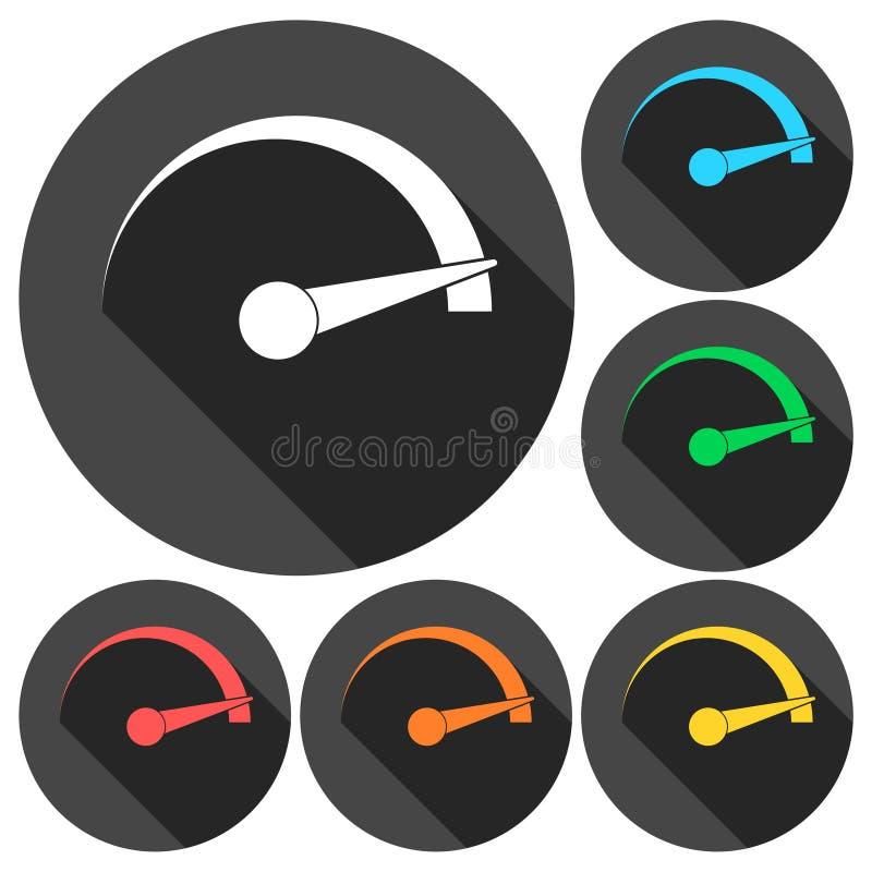Hastighetsmätaresymbolsuppsättning med lång skugga stock illustrationer
