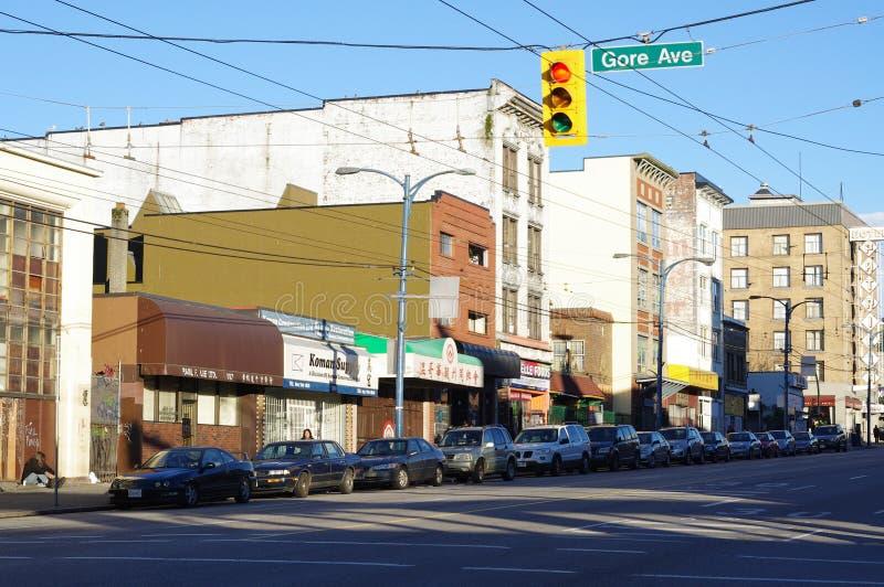 Hasting-Straße in Vancouvers im Stadtzentrum gelegenem Eastside stockbilder