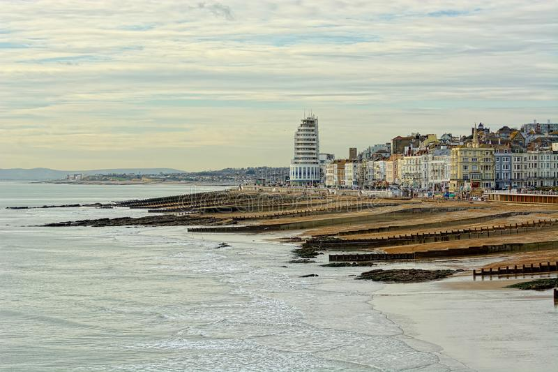 Hastings beach and seafront, Sussex, UK. royalty free stock photos
