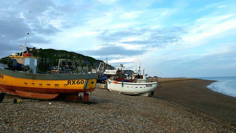 Hastings Fischereihafen stockfotografie
