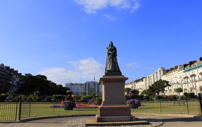 Hastings Gardens United Kingdom. Bronze sculpture of Victoria queen at Warrior Square Gardens in Hastings East Sussex,United Kingdom stock photos