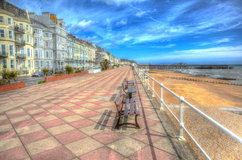 Hastings promenade and seafront with hotels East Sussex England in colourful HDR royalty free stock photos