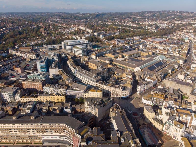 Hastings R-U, 10-16-18 - vue aérienne de ville de Hastings au R-U images stock
