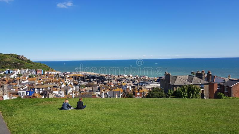 Hastings town landscape in England, southeast coast. View over Hastings old town to the sea from the hill. royalty free stock photography