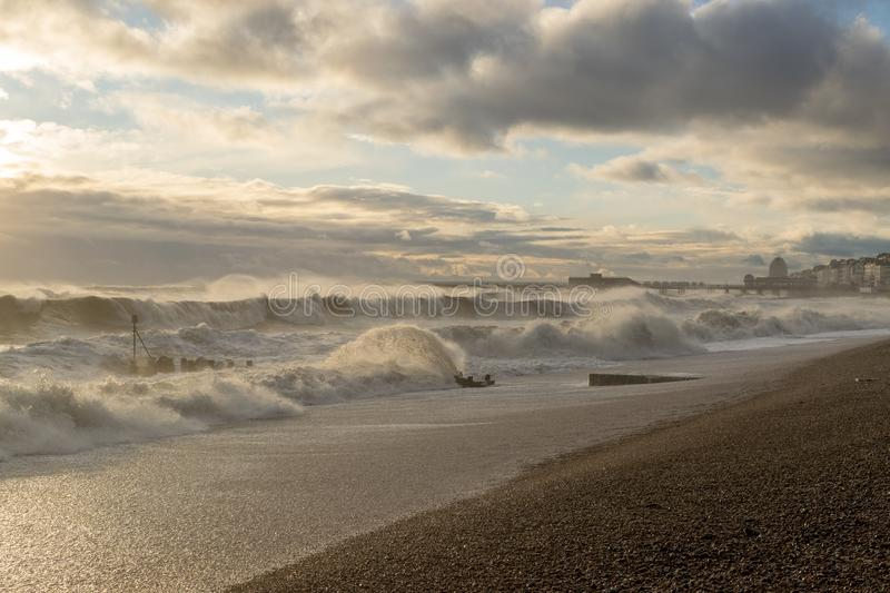 Hastings-Winter-Sturm 2017 lizenzfreies stockbild
