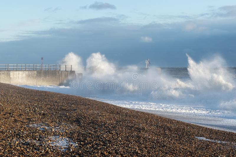 Hastings-Winter-Sturm 2017 lizenzfreie stockbilder