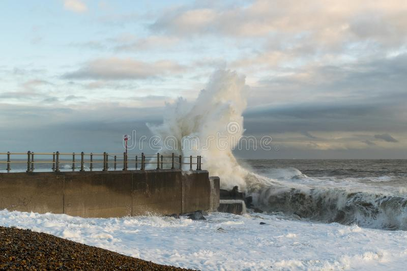 Hastings-Winter-Sturm 2017 stockfotografie