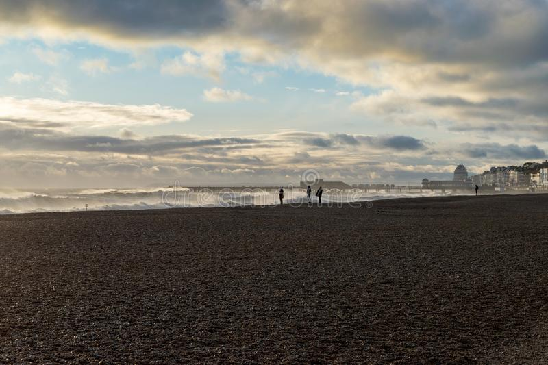 Hastings-Winter-Sturm 2017 stockfotos