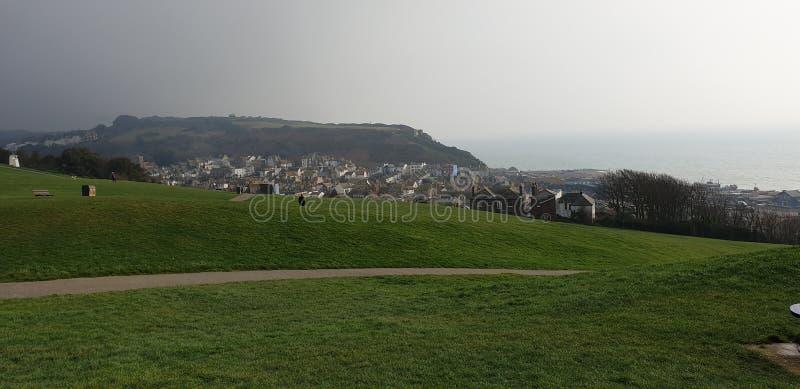 Hastingskasteel ( mening van Hastings Castle) royalty-vrije stock foto