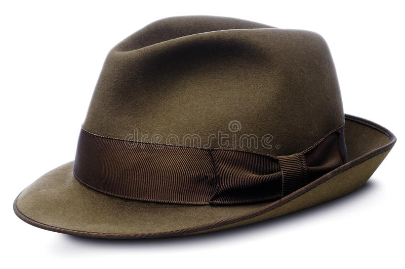 Hat. Brown hat - homburg type - isolated on white with clipping path royalty free stock photos