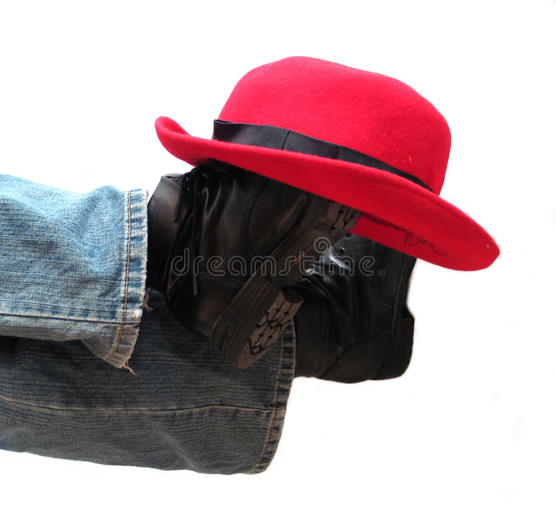 Download Hat on boots stock photo. Image of boots, jeans, jean, space - 2292