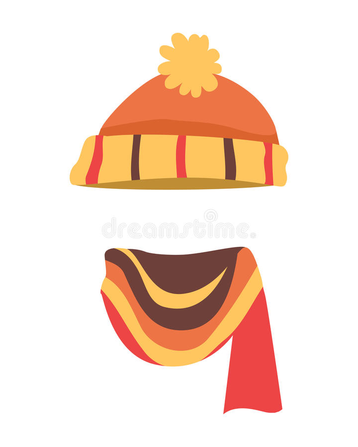Hat. Brightful Winter Warm Headwear and Long Scarf. Hat. Contemporary soft orange knitted hat and bright scarf. Striped knitted scarf twisted on the right side vector illustration