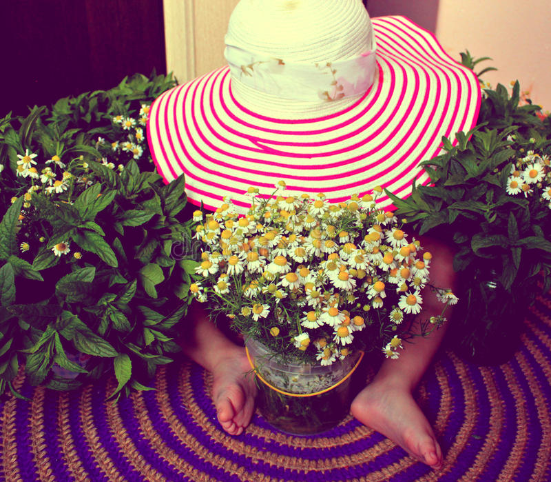 Hat, child, flowers stock photo