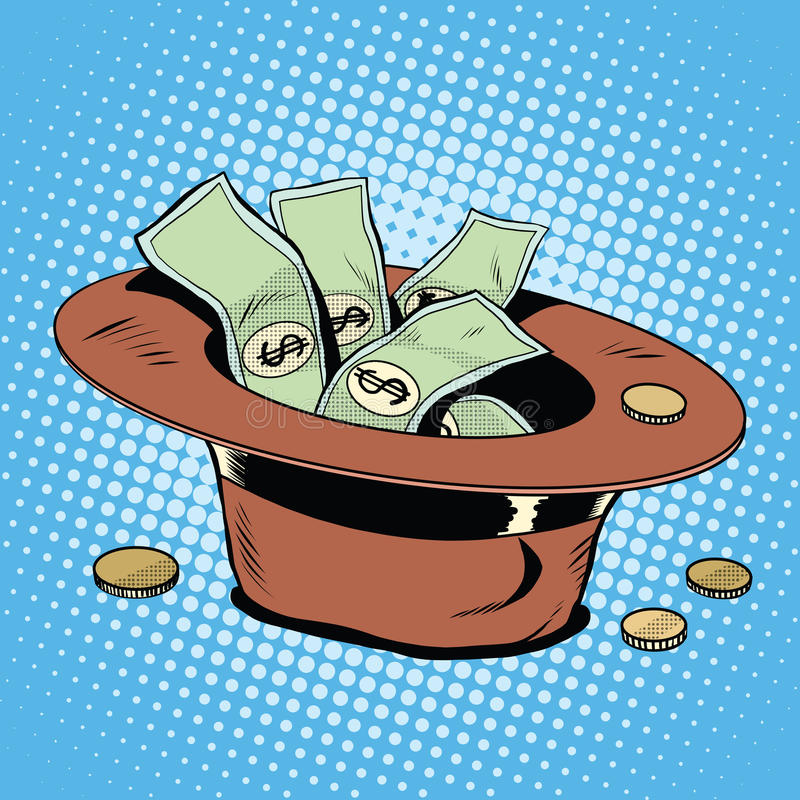 The hat for donations poverty and charity. Pop art retro style. Money and finances stock illustration