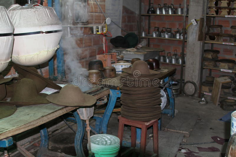 Hat Factory, Sucre Bolivia stock image