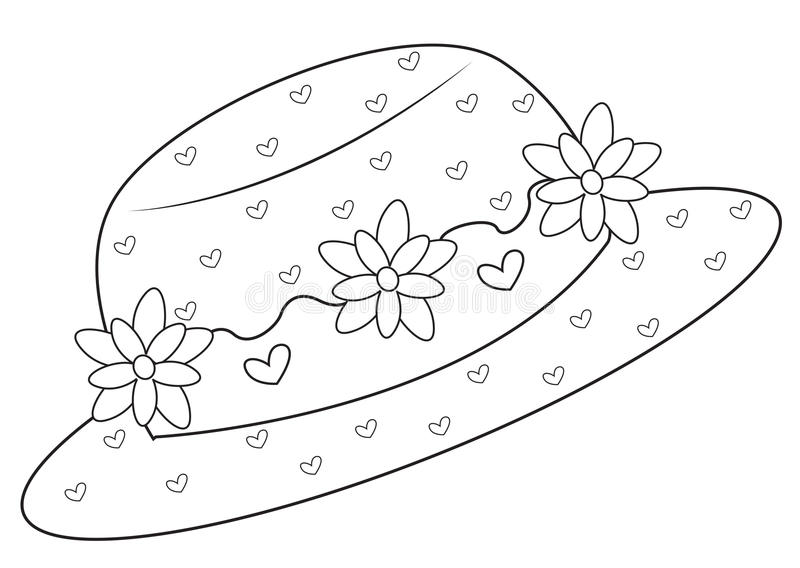 Hat with flowers coloring page royalty free illustration