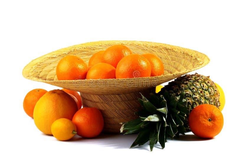 Hat full of oranges royalty free stock photo