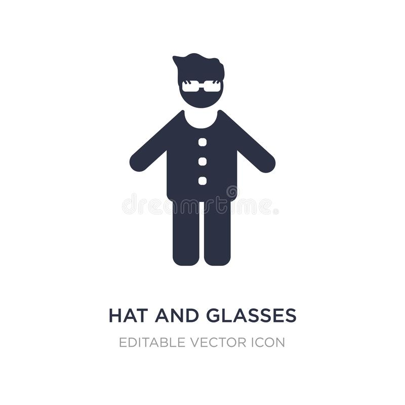 hat and glasses icon on white background. Simple element illustration from People concept vector illustration