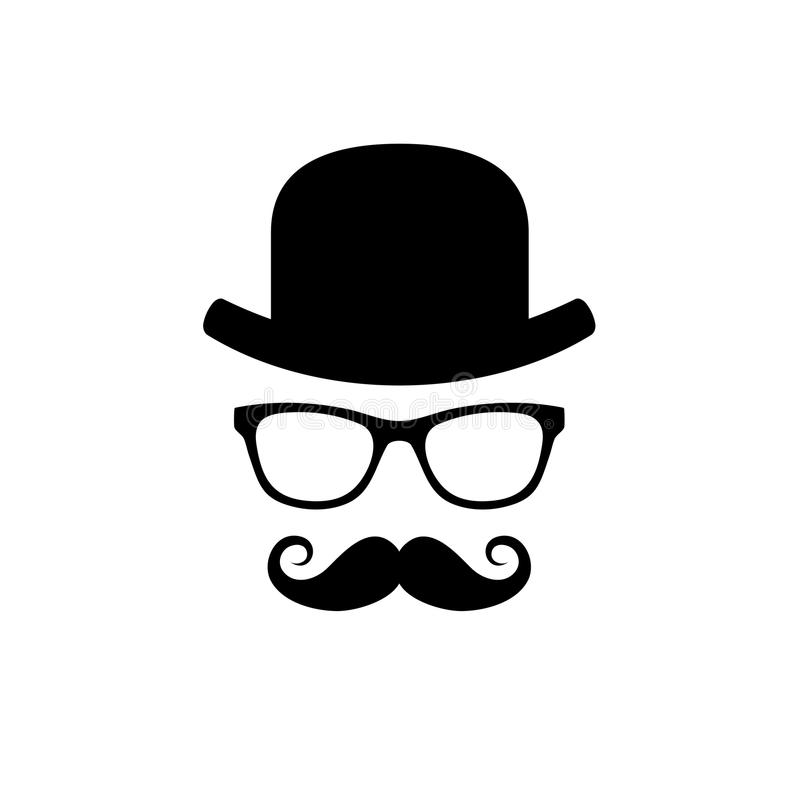 Hat, Glasses and Mustache Set. Vector. Illustration royalty free illustration