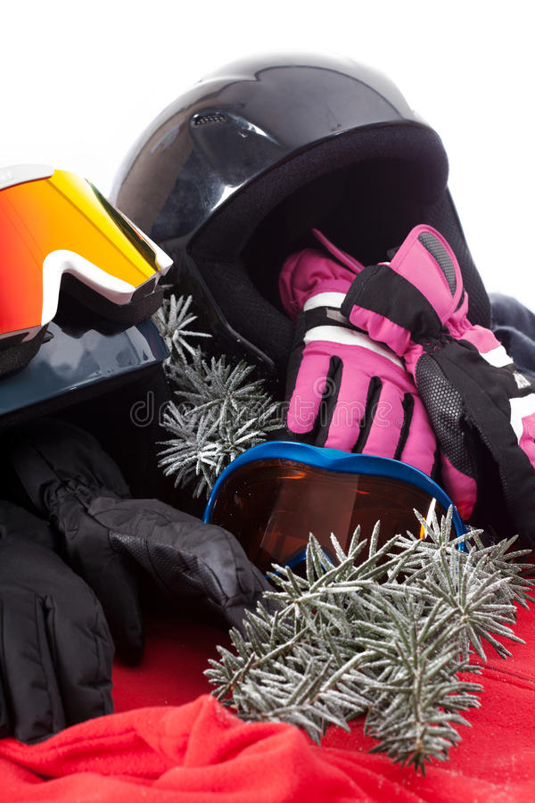 Hat, gloves and goggles stock image