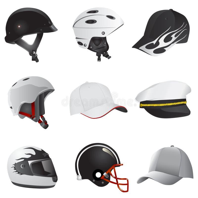 Hat and helmet royalty free illustration