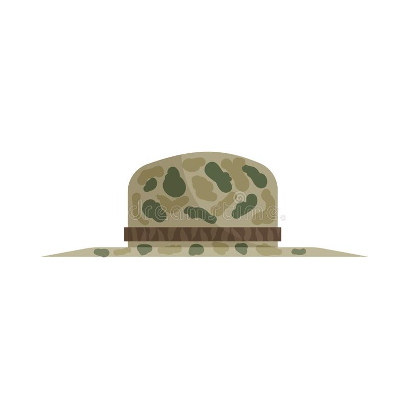Hat of hunter icon, cartoon style. Hat of hunter icon in cartoon style isolated on white background. Headdress symbol royalty free stock photography