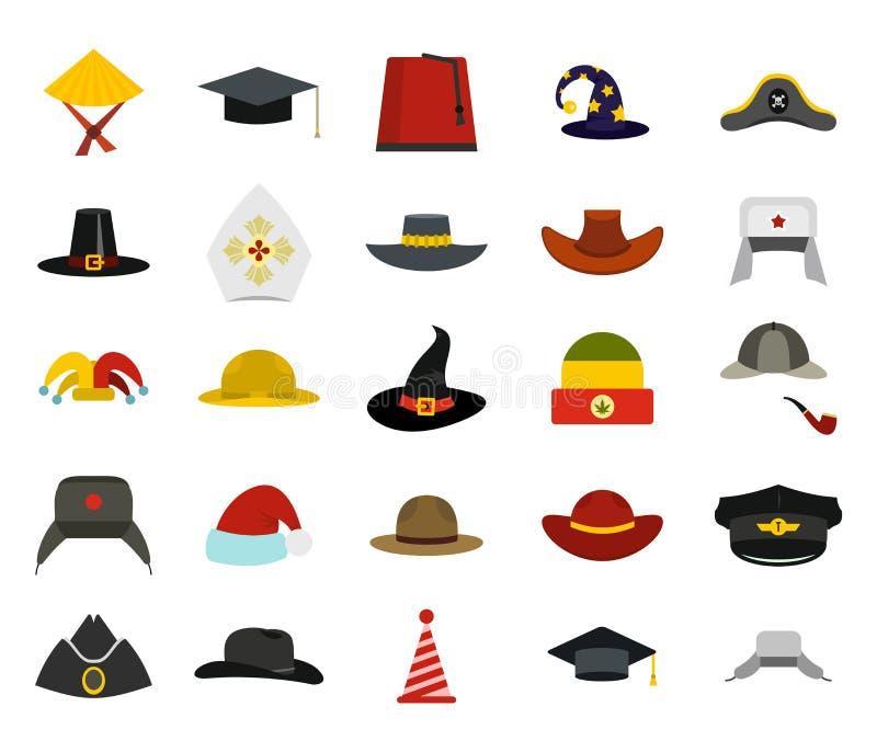 Hat icon set, flat style stock illustration