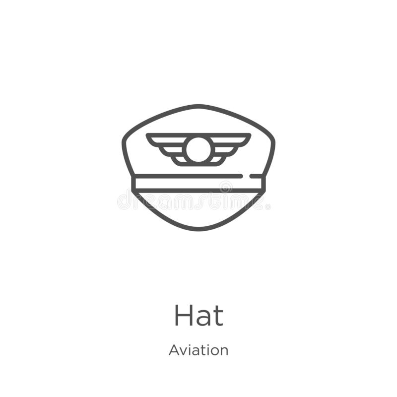 Hat icon vector from aviation collection. Thin line hat outline icon vector illustration. Outline, thin line hat icon for website. Hat icon. Element of aviation royalty free illustration