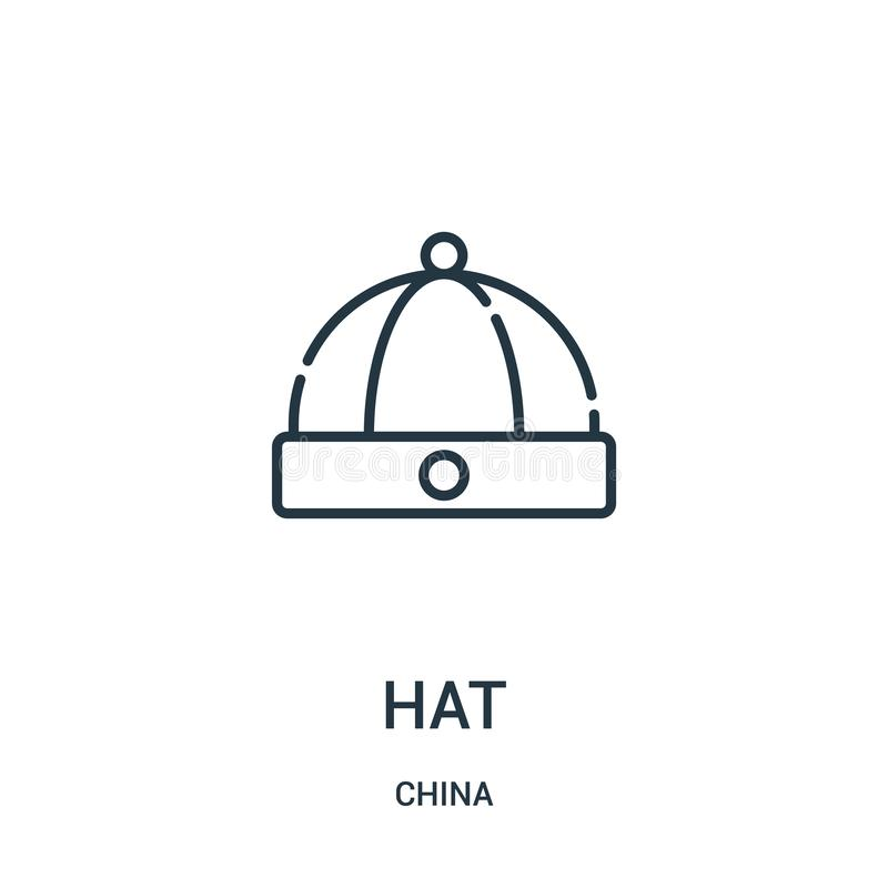 Hat icon vector from china collection. Thin line hat outline icon vector illustration. Linear symbol for use on web and mobile. Apps, logo, print media vector illustration