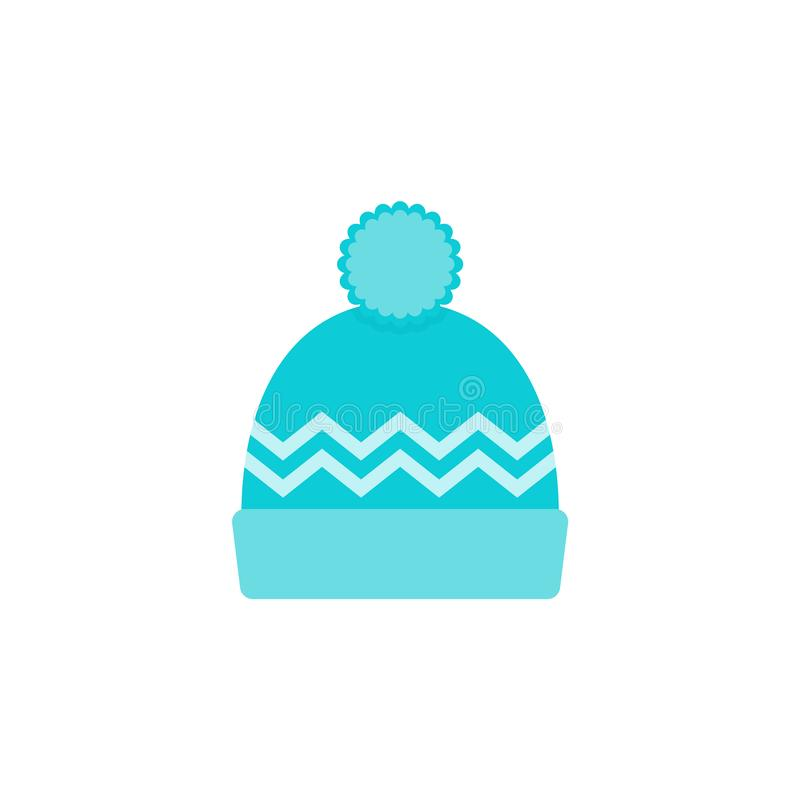 Hat icon. Vector illustration. Winter knitted beanie. Flat design stock illustration