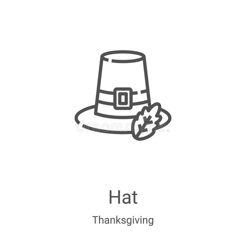 hat icon vector from thanksgiving collection 细线帽轮廓图标矢量图插图 用于Web和 库存例证