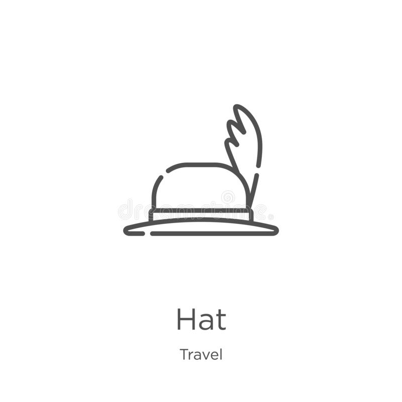 Hat icon vector from travel collection. Thin line hat outline icon vector illustration. Outline, thin line hat icon for website. Hat icon. Element of travel stock illustration