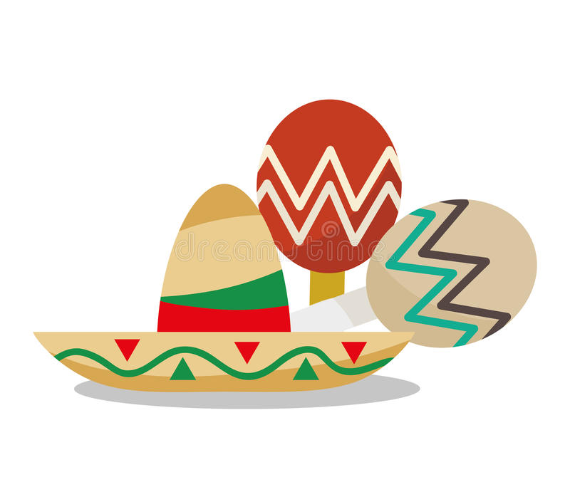 Hat of Mexican culture design stock illustration