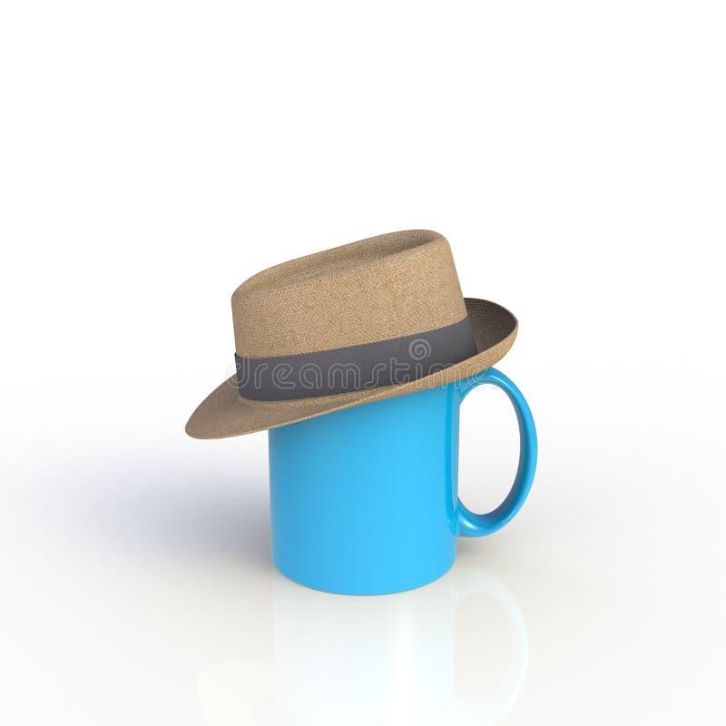 Hat op blauwe koffiebeker geïsoleerd op witte achtergrond stock illustratie