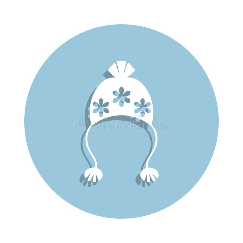 hat with pompom icon in badge style. One of New year collection icon can be used for UI, UX royalty free illustration