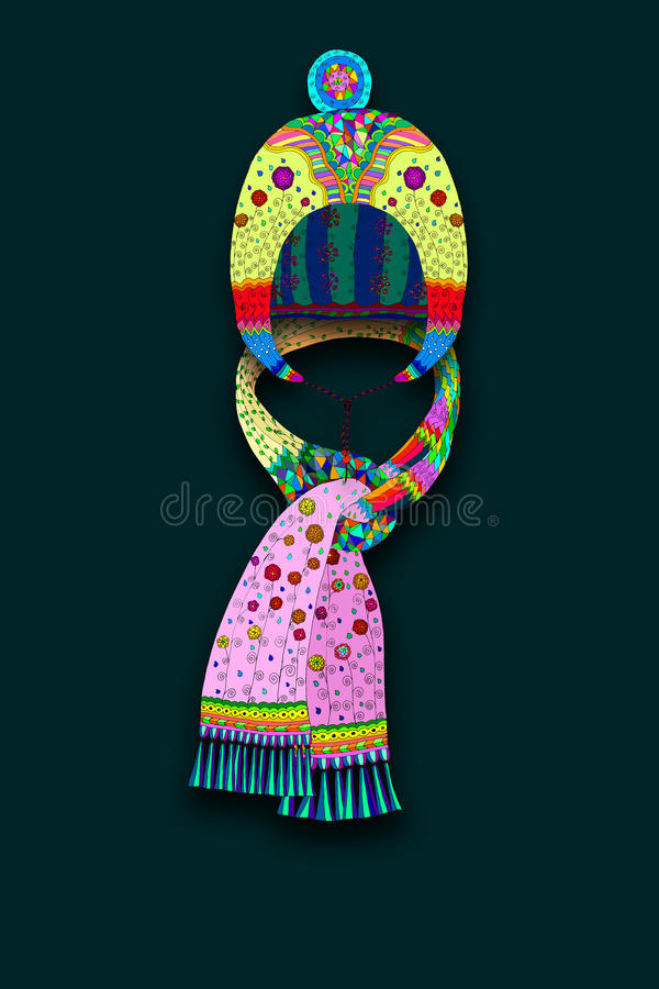 Hat and scarf. Illustration of hat and beautiful scarf vector illustration