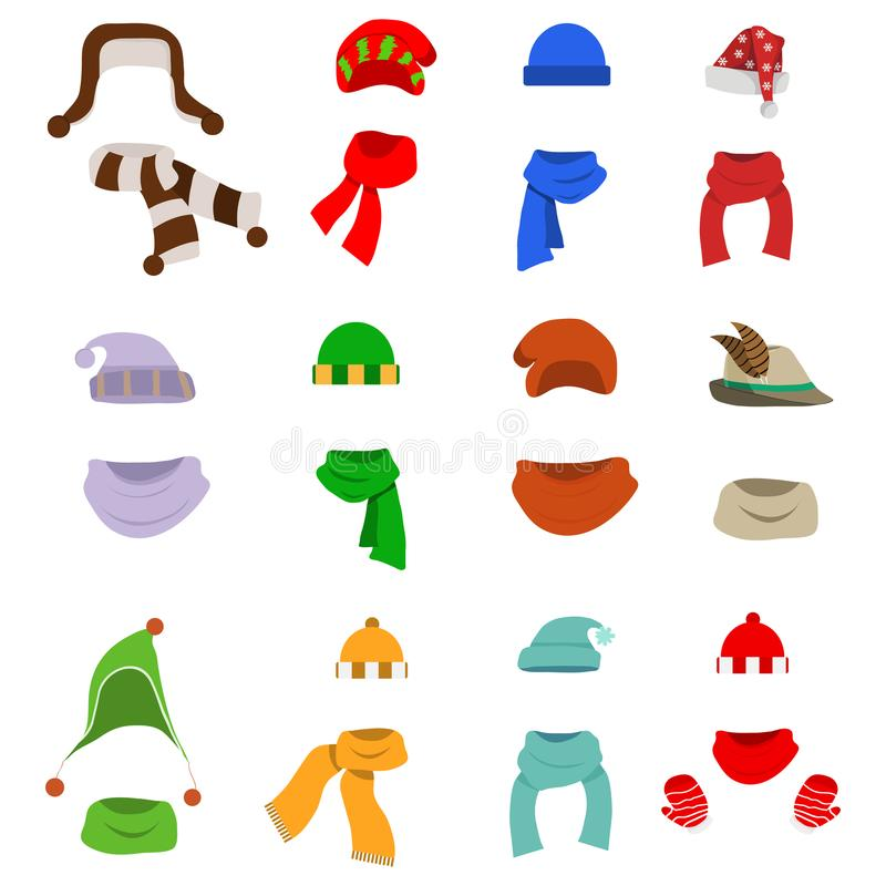 A hat with a scarf, a large set of hats with scarves. Santa`s hat. stock illustration